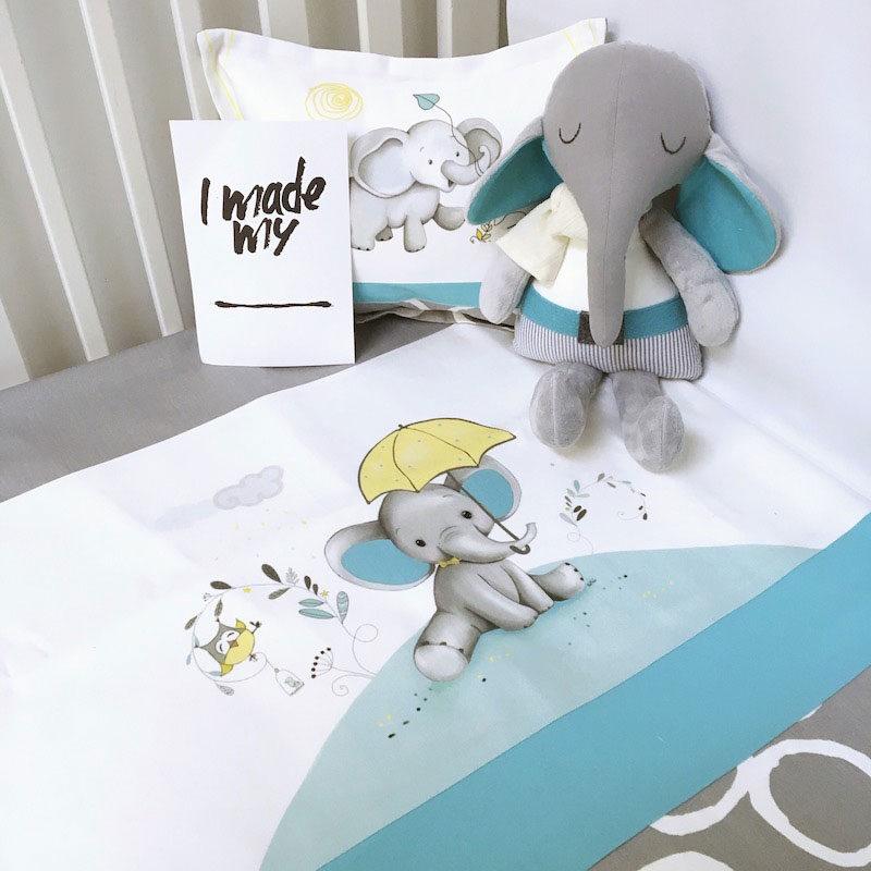 literie-bebe-garcon-elephant-turquoise-parapluie