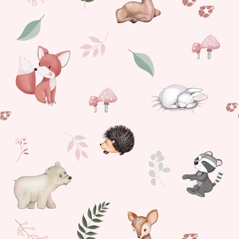 Tissu coton imprimé animaux forét