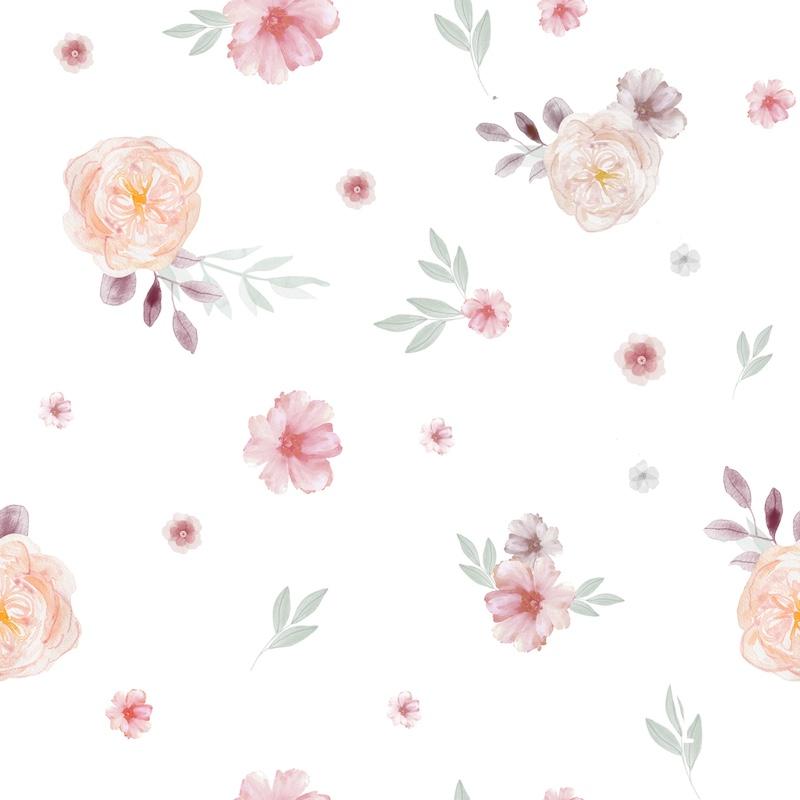 tissu-coton-imprimé-fleurs-roses-feuille